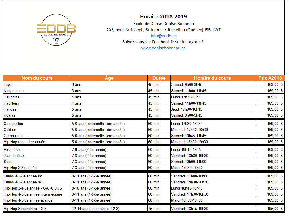 Horaire 1